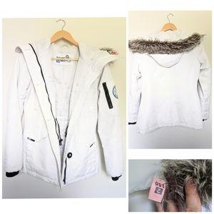 NOIZE White Winter Coat W/ Removable Faux Fur Sz S